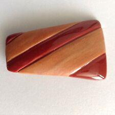 Carol Halmy Handmade Porcelain Ceramic Pin Trapezoid Dark Coral Brown Rust OOAK