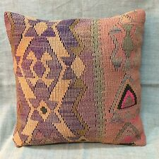 Handmade Turkish Kilim cushion cover, Throw pillow, Bohemian pillow, 40x40cm