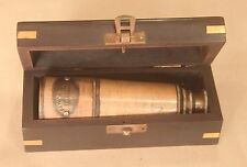 "16"" MARINE NAUTICAL ANTIQUE NAVY BRASS PIRATE LEATHER TELESCOPE SPYGLASS VINTAGE"