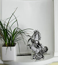 ITALIAN SILVER CHROME HORSE WITH FOAL HOME DECOR ORNAMENT 25CM TALL GIFT