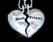 BFF Silver Tone Best Friend 4ever Heart Austrian Crystal Pendant Necklaces Multi