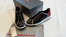 PRADA LEATHER LACE-UP SNEAKERS BLACK AND RED BRAND NEW SIZE 10US