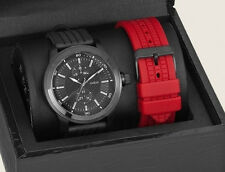NEW GUESS MEN WATCH RED & BLACK RUBBER SILICONE STRAP GIFT BOX SET DATE U10660G1