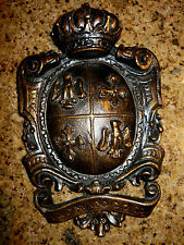 Shield Wall Plaque Eagle Cross Crown Coat of Arms Medieval Old World Hand Made