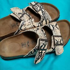 BIRKENSTOCK BETULA Reptile Print 2 strap Buckle Slide Sandal Women US 9 EU 40