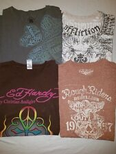 LOT 4 Lucky Brand Affliction Ed Hardy grahic S/S T SHIRTS MENS L