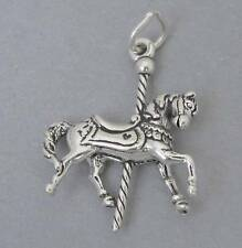 Sterling Silver 925 Charm Pendant 3D MERRY-GO-ROUND Carousel Horse 1088