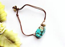 Neat! Goldtone Leather Turquoise Rhinestone & Faux Pearl Beads Bracelet NEW!