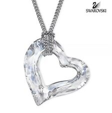 NIB Swan Signed Swarovski 3D LOVEHEART Pendant Necklace Clear Crystal #5187361