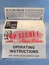 CORGI TOYS VINTAGE 270 JAMES BOND 007 DB5 ORIGINAL INSTRUCTIONS SHEET RARE