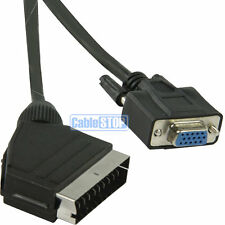 2 METRES SCART Cable to SVGA VGA 15 PIN Female Socket 2m