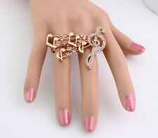 Fashion Charm Punk Golden Tone Rhinestone Musical Note Two FIngers Ring