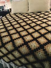 Vintage Hand Made Crochet Wool GRANNY SQUARE AFGHAN BLANKET BROWN/YELLOW 72x108