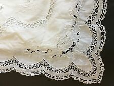 "FAB Pr Antique Lace & Linen Pillow Shams 34 x 34 for 24"" Sq. Pillow C. 1900  E68"
