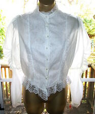 Vtg 70s Victorian Style Blouse Mutton Sleeves Frilly White Prairie Lace Blouse