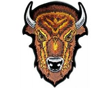 "(L13) Large BROWN BUFFALO HEAD  9"" x 12"" sew / iron on patch (3866) Biker vest"