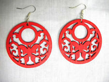 TRUE RED REAL WOOD SCROLLING BUTTERFLY CUT OUTS NATURE GIRL DANGLING EARRINGS