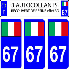 3 stickers plaque immatriculation auto DOMING 3D RESINE DRAPEAU ITALIE N° 67