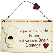 Retro Vintage Funny Replacing The Toilet Paper Wooden Novelty 2D Wall Sign