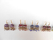 SALE Lot of 5 pairs Bollywood Style Beaded CZ Earrings Bell Shape FREE SHIPPING