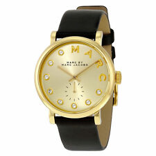 New Marc Jacobs Baker Gold Dial Black Leather Quartz Leadies Watch MBM1399