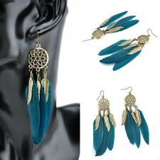 New Fashion Blue Feather Cute Dangle Dreamcatcher Earrings Wedding Women Jewelry