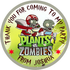 Personalised  Plants vs Zombie  50mm Stickers Party Thank You Seals 15 Stickers
