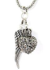 Engel Halskette, Anhänger Engelsflügel und Herz und Krone, Strass besetzt,