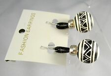 Round Balls Wood Black Painted Dangling Post Pierced Earrings NOS