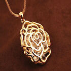 NEW Fashion Women Hollow Rose Flower Crystal Pendant Long Chain Necklace Gold