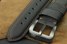 SV 22mm Black Diver Kevlar Leather Watch Strap Band+PVD Buckle for Panerai Watch