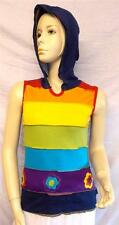 FAIR TRADE GRINGO HIPPY BOHO FESTIVAL RAINBOW HOODY STRAPPY COTTON VEST TOP S/M