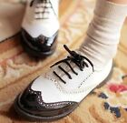 Ladies Chic Black/White Lace Up Punk Brogue Oxford Creepers Shoes Plus Size