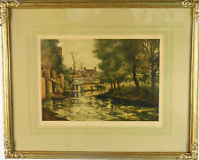 Framed River in Europe with Homes - Signature Illegible