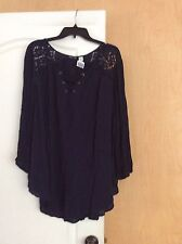 NEW Navy with cutwork shoulders women tunic top Plus Size 26/28W