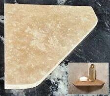 "8"" Travertine Shower Corner Shelf (Noce)  Stone Bathroom Caddy Soap Dish"