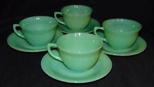 4 Fire King JANE RAY JADEITE * CUPS & SAUCERS* OWFK*