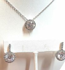 "Sterling Silver 925 GM - Round CZ Chain Necklace & Earring Set - 18"" 5.8g"