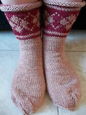Hand knitted 100% wool  socks with Latvian pattern, beige with burgundy
