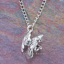 925 sterling silver 3D RAVEN Crow Charm Magical Bird Pendant Necklace