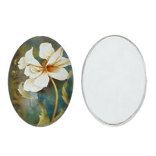Glass cabochon 25x18 mm with flower, orchid, lily 4 pcs