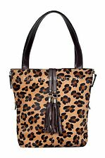 Luxury Ladies Brown Real Cow Fur Leopard Print Leather Shoulder Strap Handbag