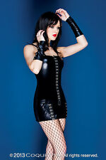 NEW Darque by Coquette Black Wetlook Hook & Eye Mini Dress Gothic M