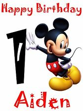 "MICKEY MOUSE Iron-On for a White T-shirt Personalized NAME & AGE 5""X7"""