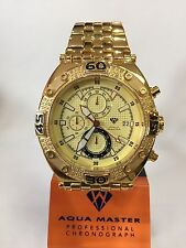 Men Aqua Master Jojo Jojino Joe Rodeo Yellow Metal Band 48mm Diamond Watch W#351