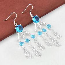 Holiday Gift Titanic Ocean Blue Topaz Gemstone Round Cut Silver Dangle Earrings
