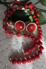 Vintage Retro Cherry Red Lucite Necklace and Earrings Set