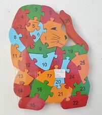 Holz-puzzle/puzzle löwe mit zahlen und buchstaben,bunt edukation spielzeug