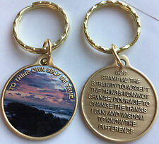 To Thine Own Self Be True Beach Sunrise Color Keychain AA Serenity Prayer Bronze