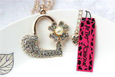 Betsey Johnson Fashion jewelry Necklace heart Crystal Pendant Sweater Chain Y118